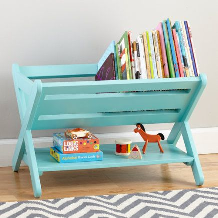 Buy a folding dishrack & turn it into a book caddy! ~awesome!!