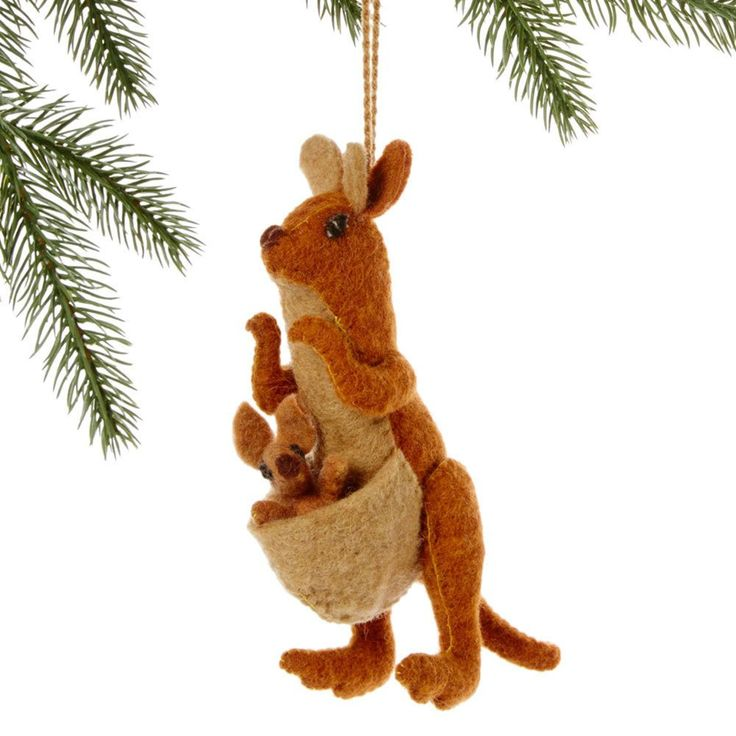 Mom & Baby Kangaroo Fair Trade Felt Tree Ornament. Celebrate a new addition to the family with this adorable mom & baby kangaroo oranment!     Women in Kyrgyzstan made this ornament by hand from felt. With a loop for hanging, this piece measures 4.5 inches long. Meet the Artisans      Silk Road Bazaar is a wholesale representative of marginalized artist groups located in Kyrgyzstan and throughout Central Asia. They connect with artists who are far from the capitals, who have limited…