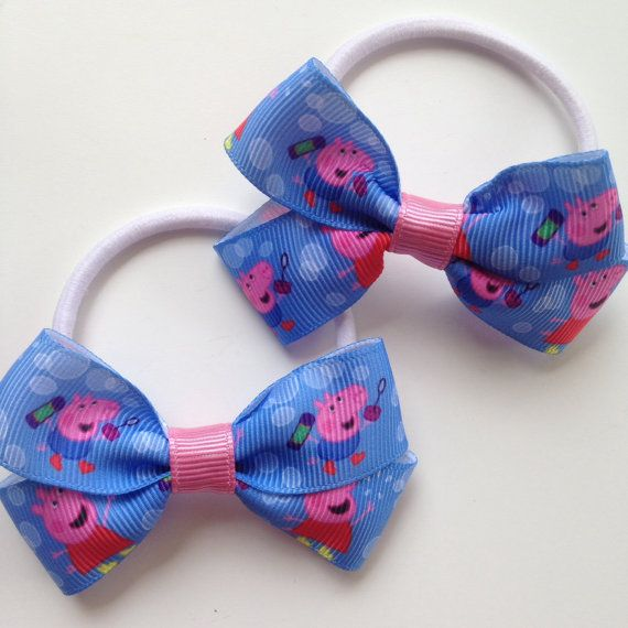 Peppa Pig Boutique Hairbow Elastic Ties by OliverandMay on Etsy, $3.50