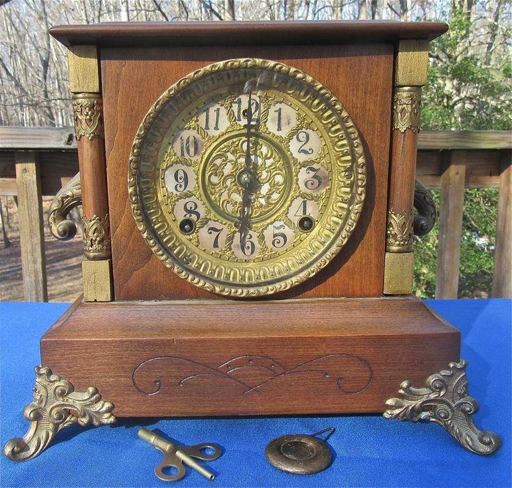 """Antique Mantle Clock """"Strathmore"""" Gilbert Co. Victorian Art Nouveau Deco Parts"""