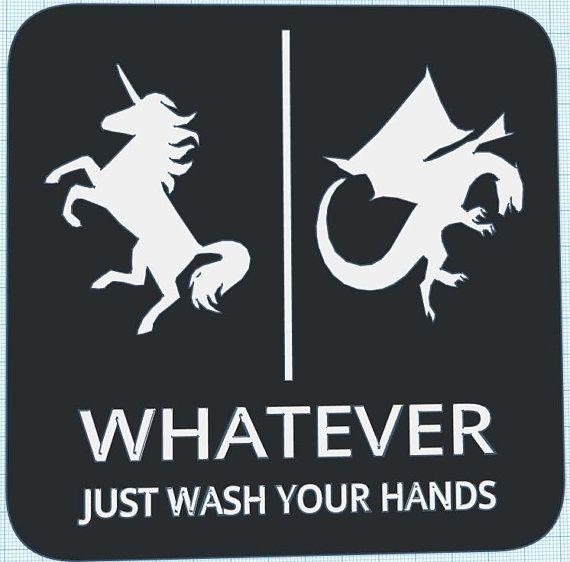 Gender Neutral Bathroom Restroom Sign Whatever Just Wash