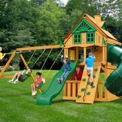 Gorilla Playsets Mountaineer Clubhouse Treehouse Swing Set w/ Fort Add-On & Amber Posts 01-0069-AP