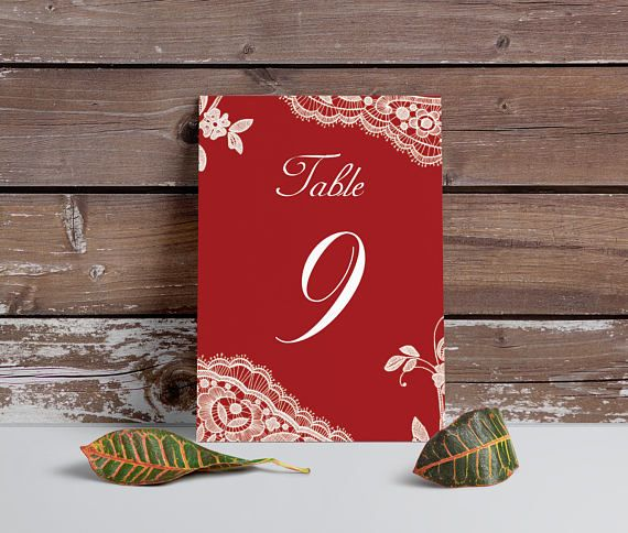 Red Table Numbers Elegant Lace table numbers Printable table  by MinimalMoon on Etsy