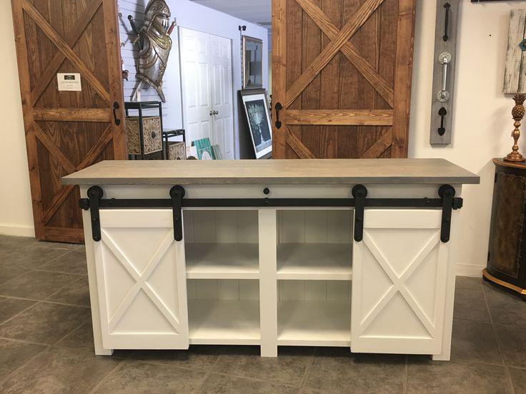 Custom Tv Stand With Barn Doors Kitchen Island Sch 246 Ne