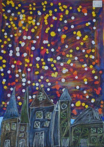 Feuerwerk über der Stadt Tropfbatik