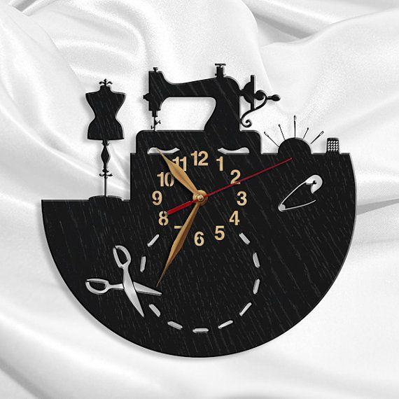 Sewing Salon Wall Clock, Tailoring Wood Clock 12inch(30 cm), Tailor Gift, Wall Art Decor, Wooden clock, Modern, Gift Idea
