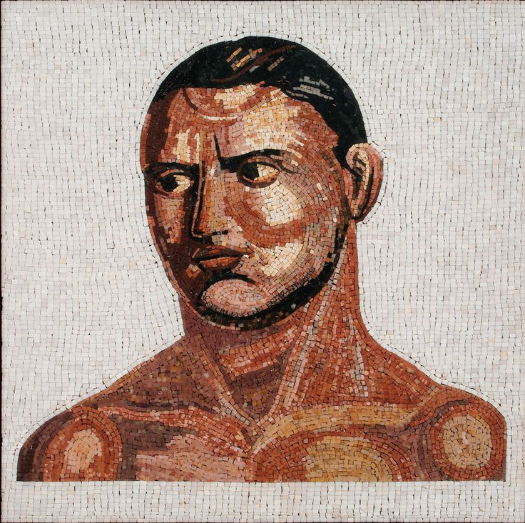 Mosaic Tiles Collection - Gladiator  Gladiator - This Micro mosaic tile design was inspired by a famous mosaic of gladiators, dated to the first half of the 4th century. It was discovered in 1834 on the Borghese estate at Torrenova just outside Rome.