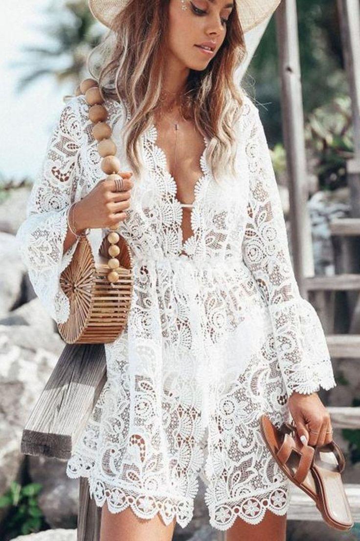 White Crochet Bikini Cover Up Lace Beach Dress Mini Dress Fashion Casual Dresses