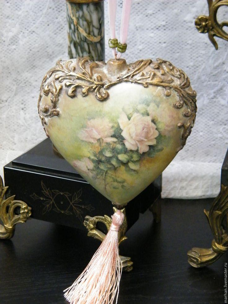 Купить Интерьерное сердце подвес новогоднее украшение Розы. Декупаж - зеленый, розовый, розы, сердце