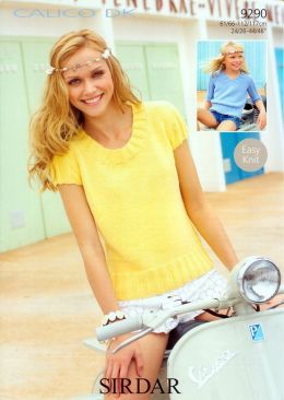 Sirdar Calico DK Ladies & Girls 3/4 sleeve & capped sleeve tops 9290