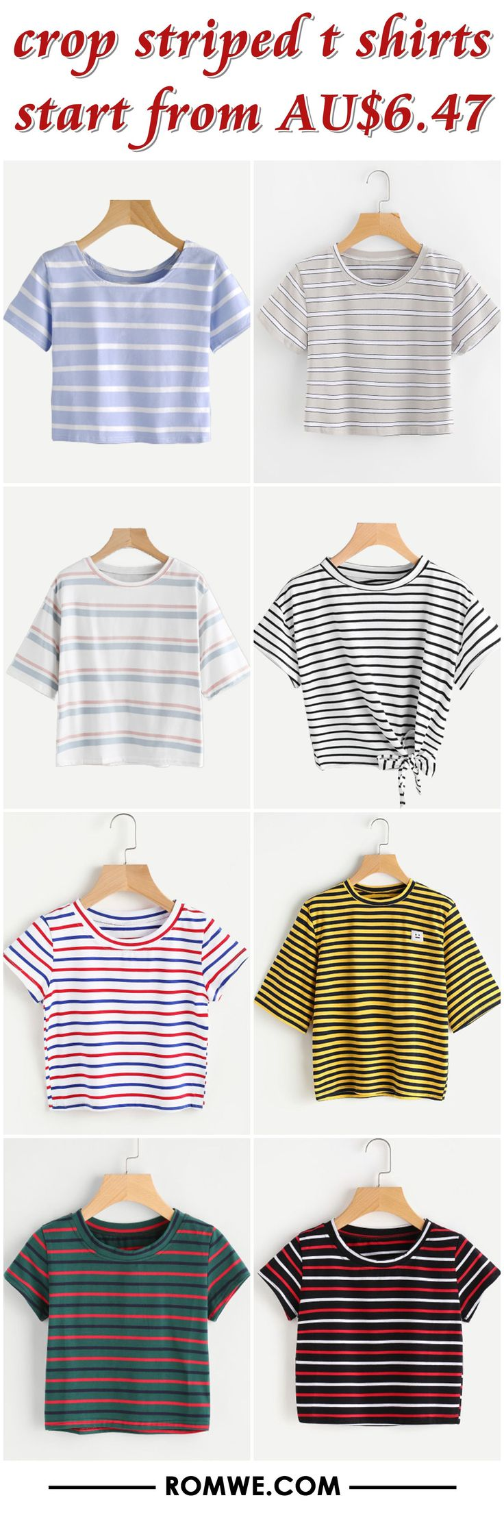 crop striped t shirts from AU$6.47