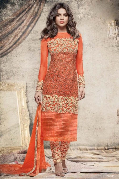 Priyanka Chopra Bollywood Orange Net Trouser Suit With Dupatta   http://www.andaazfashion.co.uk/bollywood-trouser-suits