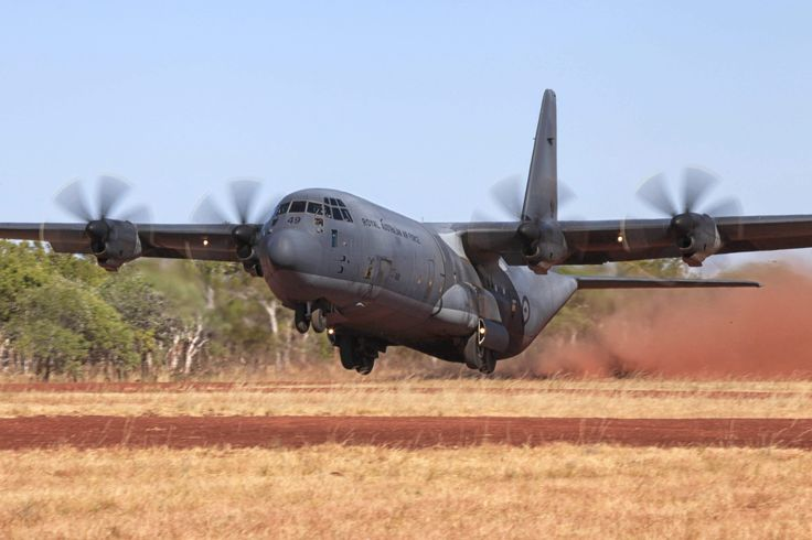 A C-130J Hercules from No. 37 Squadron takes off from Delamere Range Facility in the Northern Territory during Exercise Pitch Black 2014. CPL David Gibbs Copyright © Commonwealth of Australia, Department of Defence