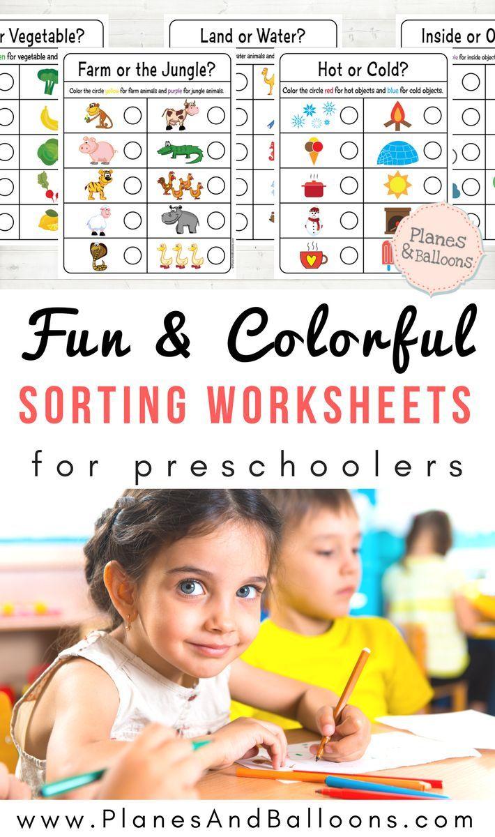 Sorting Worksheets For Preschool Planes Balloons Printable Activities For Kids Early Learning Activities Teaching Preschool [ 1200 x 710 Pixel ]
