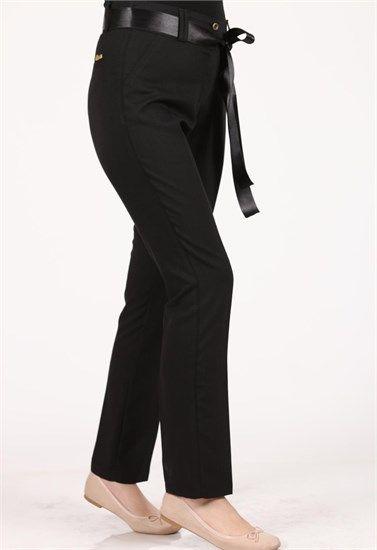 Brn Keten Bilek Kumaş Pantolon Siyah 3110