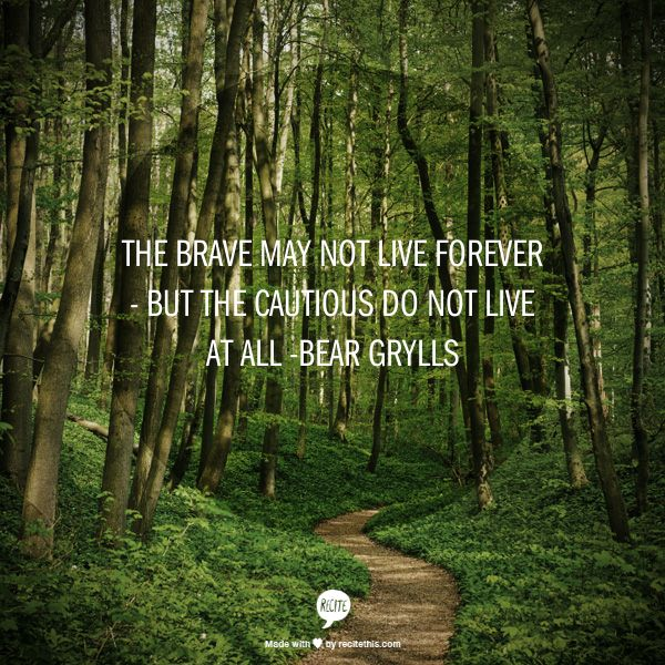 The brave may not live forever - but the cautious do not live at all -Bear Grylls