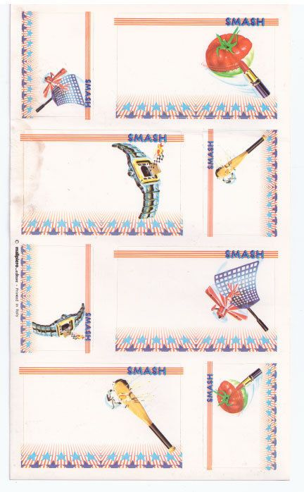 SMASH - 80s Malipiero  - etichette adesive - sticker tags mint - Paninaro