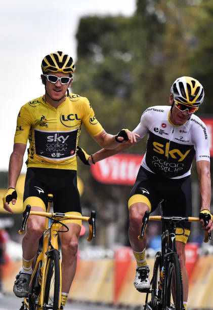 Tour de France winner Great Britain s Geraint Thomas wearing the overall  leader s yellow jersey and classification thirdplaced Great Britain s. 4c4b346f1