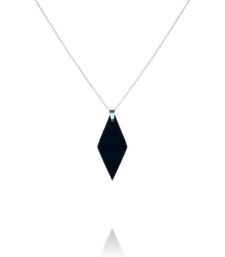 Short necklace with diamond shaped pendant  #DiLeonora #jewellery #jewelry #black #simplyblack #necklace #silver