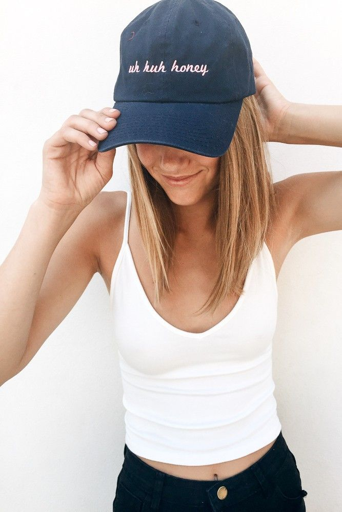 See this and similar hats - Navy color six-panel baseball cap with