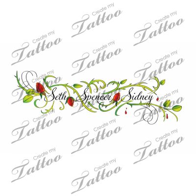 Ankle vine/childrens names tattoo | rose and thorn ankle tat #21909 | CreateMyTattoo.com