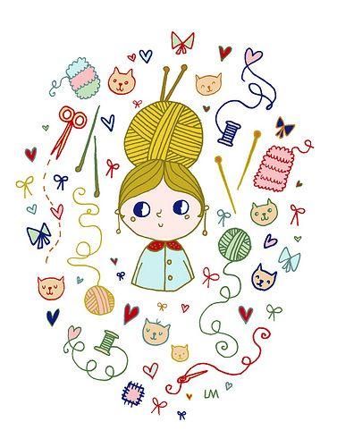 Miss Knitting and her kittens par lisamanuels sur Flickr