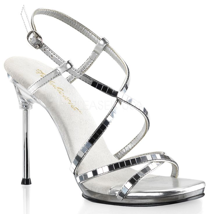 FABULICIOUS CHIC-09 Silver-Mirror-Clear Ankle Strap Sandals