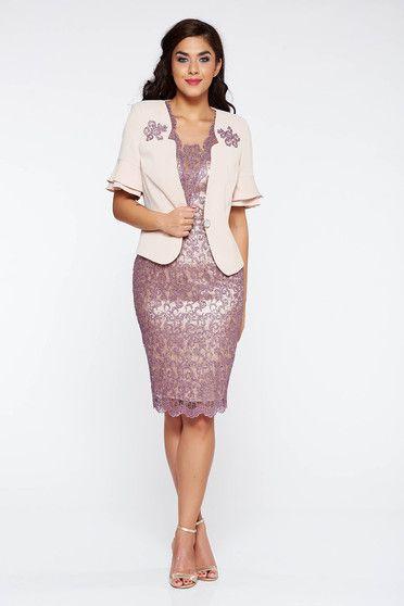 Lila női kosztüm elegáns két részes rövid ujjú midi pamutból készült  flitteres díszítés belső béléssel 540c9a396a