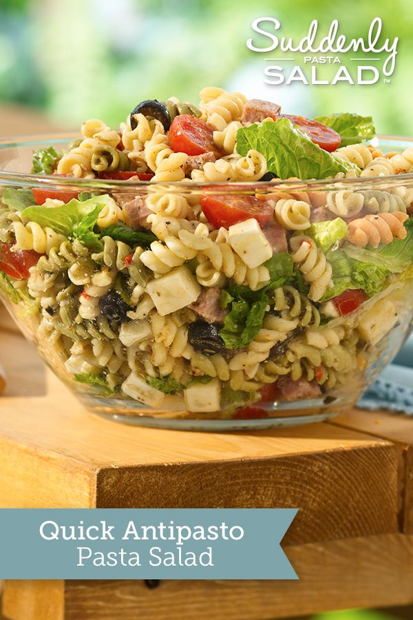 Quick Antipasto Pasta Salad - Bring a touch of Italy to the dinner table with a delicious pasta salad bursting with cheese, salami, olives and tomatoes.