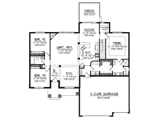 Bedrooms 3 baths 2 living area 1 884 width 60 for Ranch floor plans with basement