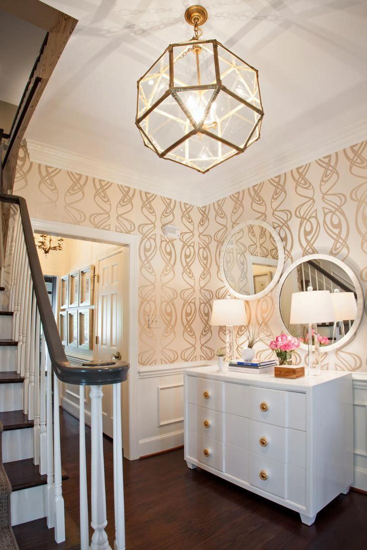 Rasch apples vinyl kitchen wallpaper 824506 cream cut price - A Whimsical Gold And Cream Wallpaper Gives This Once Dark Foyer A Light Airy