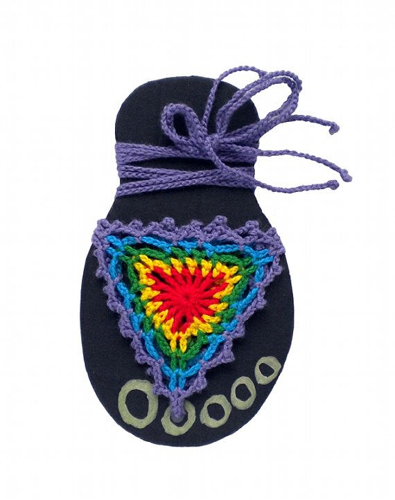 Rainbow barefoot sandals beach wear, violet nude shoes, hippie sandals by MultiKultiCrafts
