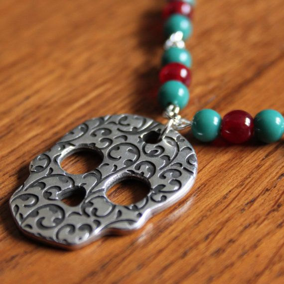 Necklace with sugarskull by MissFrauque on Etsy