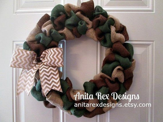 Camo Wreath Support Our Troops  Military Wreath by AnitaRexDesigns
