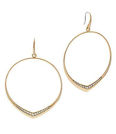 Michael Kors Crystal Pav KnifeEdge Drop Hoop Earrings #Dillards
