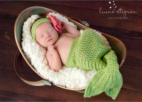 Mermaid Baby Costume Photo Prop Flower Headband by CrochetChalet, $44.95