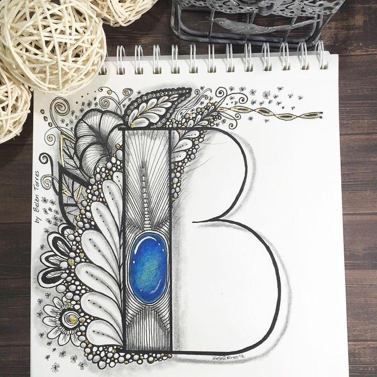 #lettering #letters #handletteredabcs_2016 #handletteredABCs #handlettering #letras #belentorres #almadetorres #micron #acuarela ##watercolor #gemas #gems #zengems #zentangleart #zentangle #doodle #doodleart #b La letra de hoy para @handletteredabcs #abcs_b