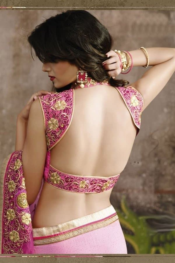 pink Silk Saree Blouse Designs Back Neck