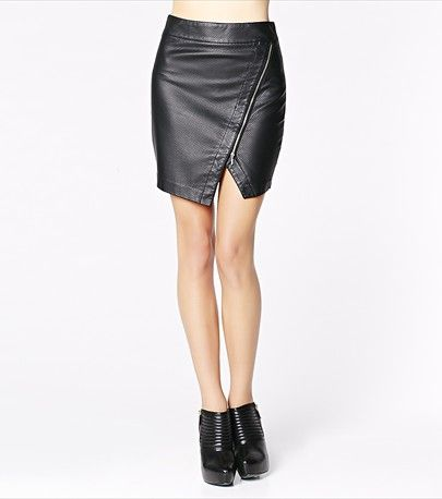 All Over Perforated Faux Leather Skirt