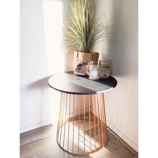 """<a href=""""http://www.kmart.com.au/product/wire-table---white/706829"""" target=""""_blank"""">Side table</a> - $29"""
