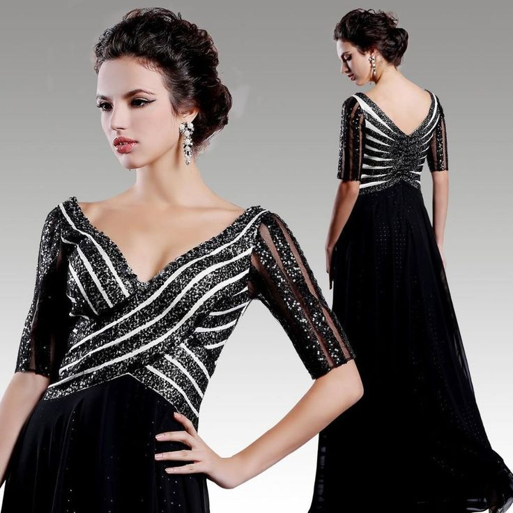 Women s Long Black Evening Formal Gown Elegant Satin Chiffon Party Dress 31307
