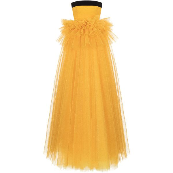 Rasario Metallic Tulle Ruffle Waist Gown ($2,555) ❤ liked on Polyvore featuring dresses, gowns, yellow, yellow evening dress, yellow evening gown, metallic dresses, flutter-sleeve dress and metallic evening gown