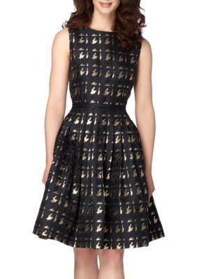 Tahari BlackGold Metallic Jacquard Fit and Flare Dress