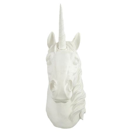 white faux taxidermy unicorn!! also available in gold!: Taxidermy Unicorns, Unicorns Party, Decoration Galor, Unicorns Head, Head Silhouette, Decoration Idea, Rooms Mantels, White Wall, Unicorns White