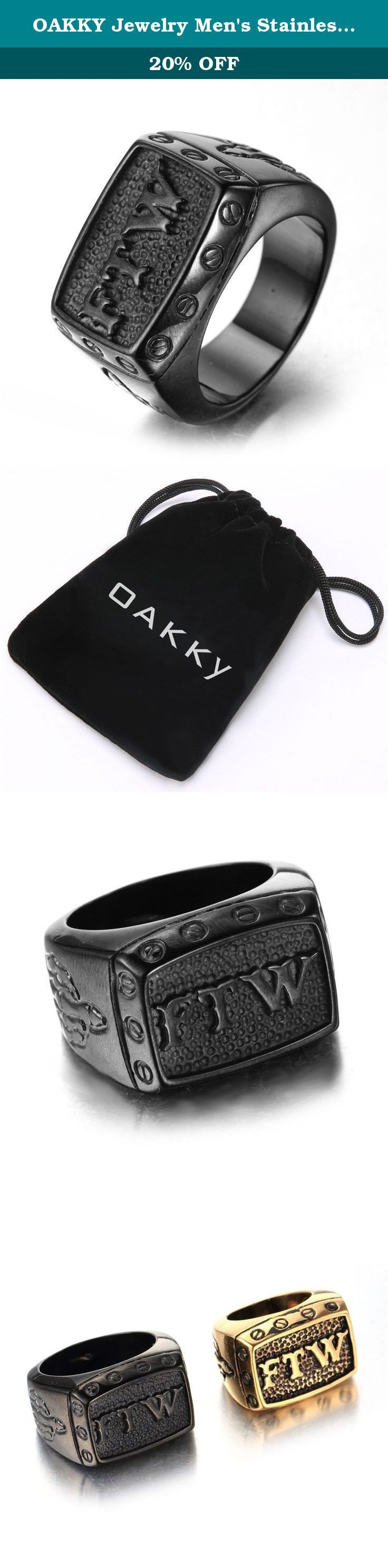 OAKKY Jewelry Men's Stainless Steel Punk Biker Rings with Letters FTW, Vintage Black Size 12. OAKKY Culture: We are a professional jewelry store. Variety of jewelry for your choice here. 316l stainless steel metal material is the most popular jewelry nowadays. Hypoallergenic is an important feature. High quality of goods earns many repeat orders. Why not try now ? Item Details: Design: English letters High-quality titanium steel,resistant to acid,alkali resistant. Manual polishing,smooth...