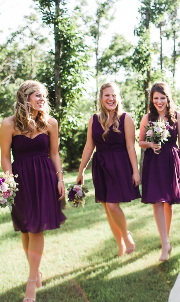 Short chiffon eggplant purple bridesmaid dresses. A look your 'maids will love! | Kennedy Blue Bridesmaids | Sarah Libby Photography