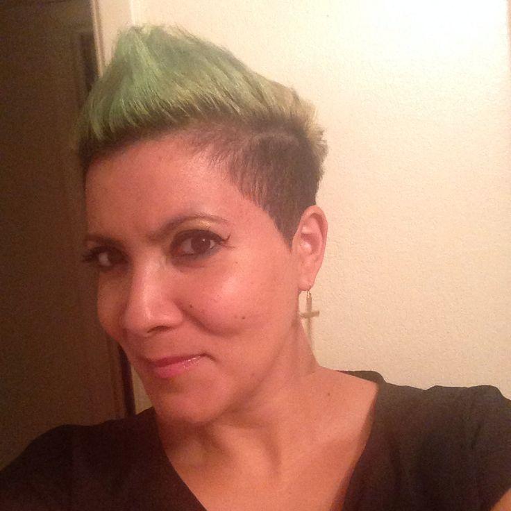 Captivating Neon Green Undercut Faux Hawk!! Awesome Hair Cut!
