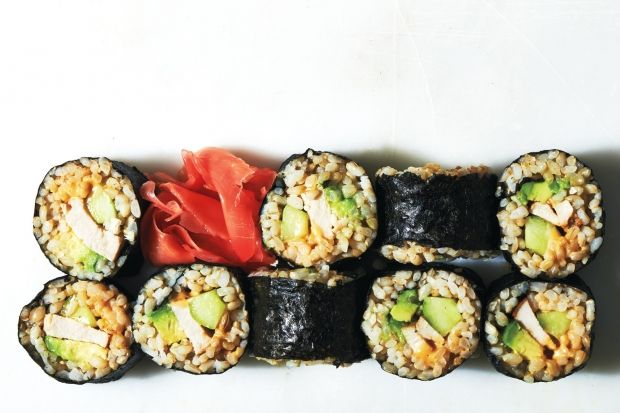 Chicken and Avocado Brown Rice Sushi Rolls