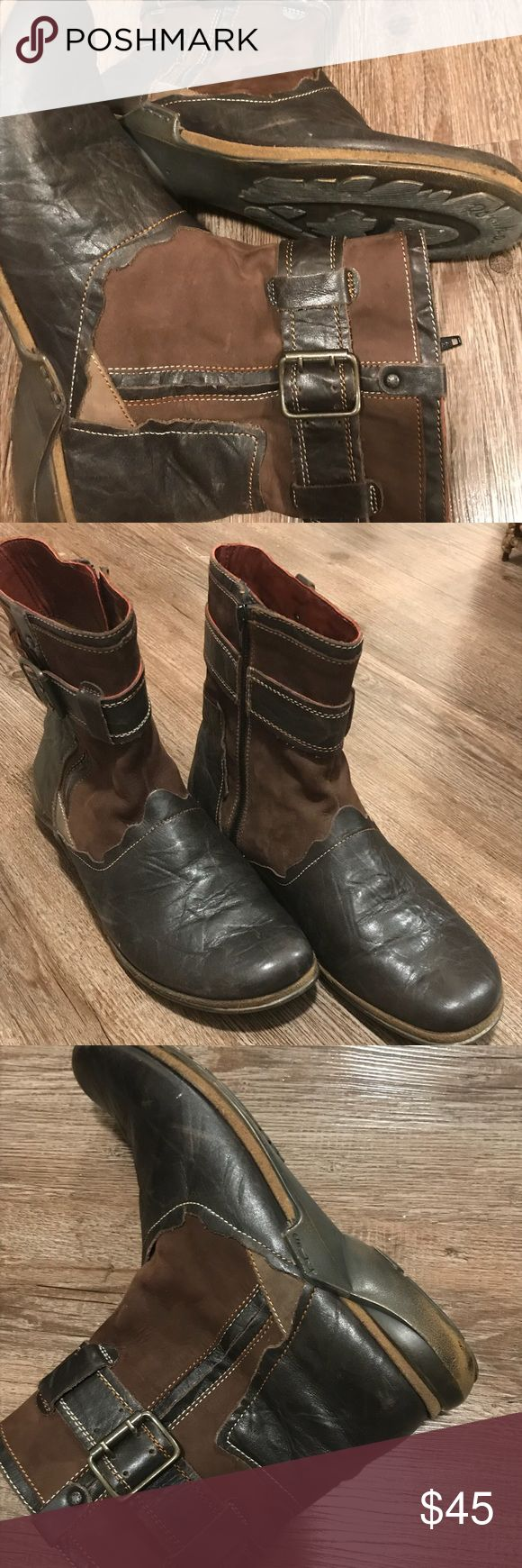 Brown Boots. 2 tone brown boots. Leather and suede. Side zip. Size 40. ( I usually wear 9 ) Very well made. Comfortable and stylish. I have worn them several times, the soles look a bit worn, but they are still very comfy. They honestly feel new. Romika Shoes Ankle Boots & Booties