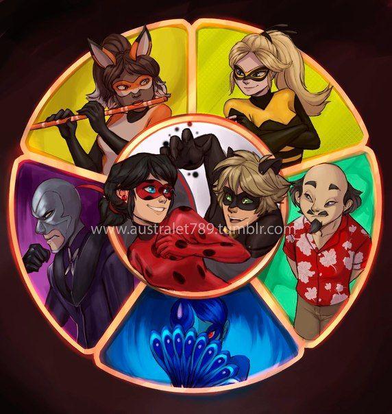 Hawk Moth,El Pavo Real,El Maestro,Queen Bee,Volpina,Ladybug y Chat Noir